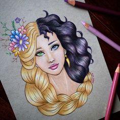Rapunzel VS su madre Gothel. Sus pasos para diseñar son así: suele comenzar con los ojos, luego la piel, la boca y el cabello, en ese orden. ¿Cuánto habrá tardado en diseñar la melena de Rapunzel? - Foto: instagram.com/dada16808/