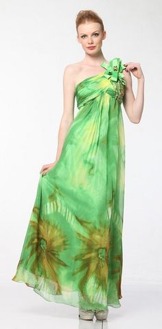 Green Print Dress Chiffon One Shoulder Bow Jewel Bodice Green Dress Affordable Formal Dresses, Formal Dresses For Women, Green Print, Dress First, Ribbon Bows, Mardi Gras, Chiffon Dress, Green Dress, Jewel