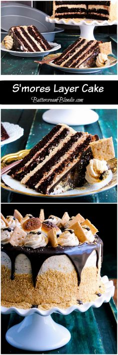 S'mores Layer Cake - Incredible chocolate cake filled with graham cracker frosting and decadent chocolate ganache is a must for your summer celebrations! | ButtercreamBlondie.com