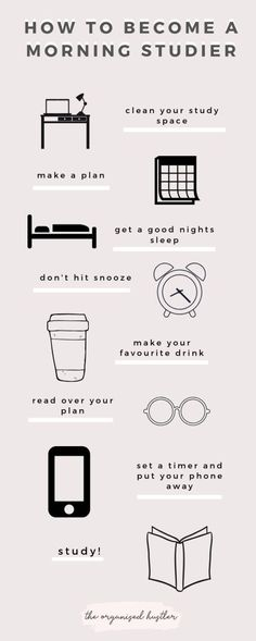 Tips on Becoming a Morning Studier - Image credit: The Organised Hustler Mcat Study Tips, Exam Study, Study Skills, Gre Study, Study Hacks, Study Tips For Exams, Study Motivation Quotes, Study Quotes, Daily Motivation