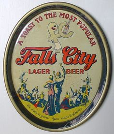 Vintage - Falls City Brewing Co of Louisville - Kentucky - USA - Falls City Lager Beer - ''A Toast to the Most Popular'' - ''We Make it Good - You Make it Famous'' - Tray - 1934