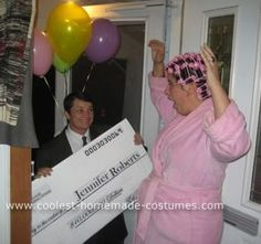 Publisher's Clearing House Prize Patrol and $10,000,000 Winner: Instructions on making the Publishers Clearing House Prize Patrol and $10,000,000 Winner Costume:  Go to the thrift store and pick up a men's suit, dress