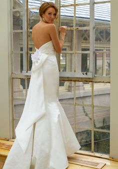 satin trumpet gown with organza draping