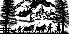 scherenschnitte & nunatak – mashed radish Silhouette Stencil, Tribal Art, Cool Pictures, Forest Silhouette, Rock Painting Art, Image, Black N White Images, Pictures, Paper Art