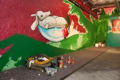 """""""Rotkäppchen vs. Der böse Wolf - Deutsche Romantik trifft Streetart""""    Der böse Wolf: Graffiti Session in der Tiefgarage Museum, Graffiti, Dinosaur Stuffed Animal, Toys, Painting, Animals, Angry Wolf, Underground Garage, October"""