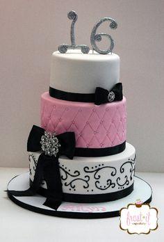 Pink black and white fondant cake Sweet 16 birthday cake