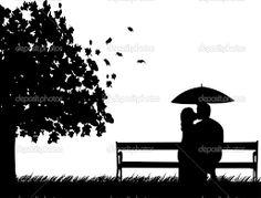 Rezultate imazhesh për couple under umbrella kissing silhouette Kissing Silhouette, Bench, Park, Couples, Outdoor Decor, Poster, Parks, Couple, Desk