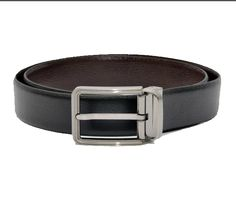 HIDEMARK BLACK- FORMAL REVERSIBLE LEATHER BELT FOR MEN