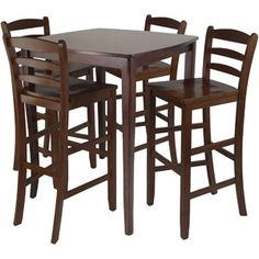 Inglewood 5-Piece High Dining Set with Ladder-Back Stools, Antique Walnut.  Could get just 2 chairs instead of the bundle with all 4