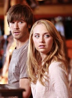 """Graham Wardle and Amber Marshall in Heartland  I love when he says """" would you hate me if you're grandpa went missing?""""  ahaha"""