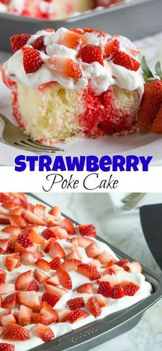 Strawberry Poke Cake - Dinners, Dishes, and Desserts Strawberry Poke Cake - a classic poke cake with white cake, strawberry jello, whipped cream and lots of fresh strawberries! Oreo Poke Cakes, Poke Cake Recipes, Cupcake Recipes, Cupcake Cakes, Muffin Cupcake, Frosting Recipes, Tolle Desserts, Köstliche Desserts, Great Desserts