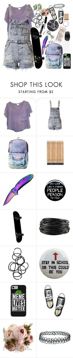 """Teenage dirtbag"" by iamgl2002 ❤ liked on Polyvore featuring BCBGeneration, Pull&Bear, Kershaw, ELSE, Forever 21, Monki, Converse and Topshop"