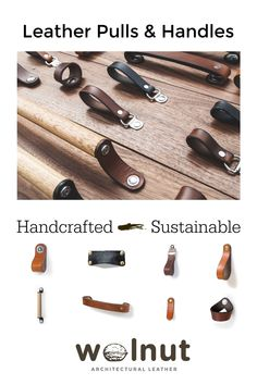 Handcrafted American-made leather and wood cabinet handles and drawer pulls in original architectural designs for your home: award-winning and sustainably sourced.