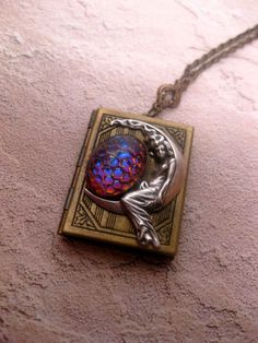 Colors of Sunrise Moon Guardian Book Locket Necklace by FashionCrashJewelry on Etsy