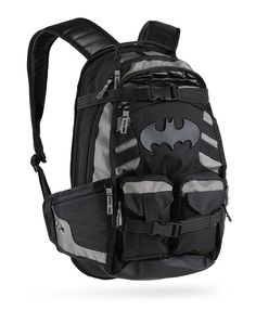 The Batpack Backpack will hold all of the stuff that your utility belt can't. This stylish backpack features MOLLE-style webbing along the shoulder straps and also a textured, reinforced bottom.  This is the backpack of choice for the Batman.    Batman Batpack Backpack   	Officially