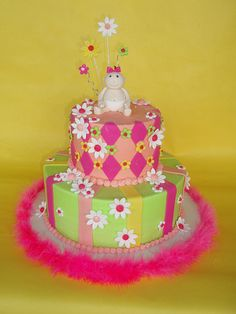 Pastels and Daisies Baby Girl Shower Cake by CakesUniqueByAmy.com, via Flickr
