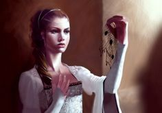 Sansa Stark examining the silver hairnet after Joffrey's poisoning - art by Natascha Röösli.