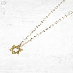 Gold necklace, star of David necklace, dainty necklace, statement necklace, Magen David necklace, everyday necklace, gift for her.  _________________________________________________________________________________________    Tiny gold plated hammered star of david charm, hangs on 18K gold filled chain. ferfect as everyday necklace.  pendant size: 10x8mm  _________________________________________________________________________________________    ★ Unique and original design!  ★ 100% Top…