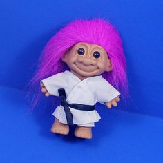 """Russ ~ 4.5"""" BLACK BELT KARATE TROLL DOLL ~ Purchased new. Never played with!"""