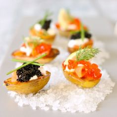 Baby Potatoes with Smoked Salmon and Caviar. Perfect for New Year's Eve.
