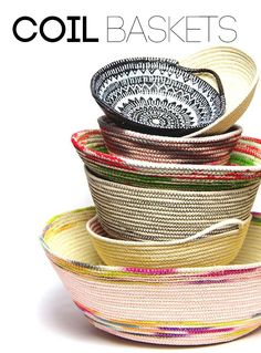 There's something about rope home decor projects that make my heart sing! See 5 gorgeous DIY Rope Projects you'll want to make now! Rope Crafts, Fun Crafts, Diy And Crafts, Raffia Crafts, Rope Basket, Basket Weaving, Fabric Bowls, Diy Projects To Try, Sewing Crafts