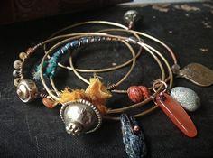 Tribal brass bangle set with kuchi kyanite silk and  by quisnam, $42.00