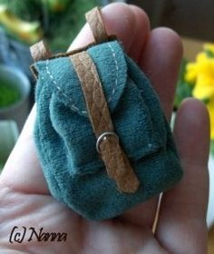 "How to make a Miniature backpack- since the family in our family dollhouse has been declared world travelers and should ""have backpacks everywhere"""