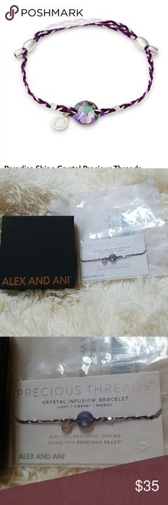 Alex and Ani precious threads pull cord NWT! Sterling silver swarovski crystal inky purple braid bracelet. Adjustable to fit many wrist sizes. Clearing out all of my Alex and Ani that I haven't worn or don't wear. New in original plastic and box included. Alex and Ani Jewelry Bracelets