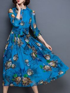 Chic Long Sleeve Abstract Printed Waist Tied Chiffon Dress For Women Ruff Collar, Long Sleeve Chiffon Dress, White Chiffon, Sammy Dress, Abstract Print, Different Styles, Dresses Online, Fashion Dresses, Chic