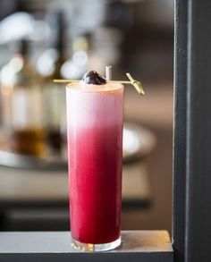 Cherry Bounce is an historic ingredient originally devised to preserve and fortify cherries to expand their shelf life; Huerta uses the liqueur part of the ingredient as a fruity sweetener to complement the vanilla and baking spice flavors of the high-proof bourbon. Photo by Julie Soefer.