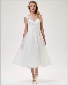 Brautkleid, kurz, aus Tüll und Spitze, Weise Fashion