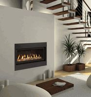 Echelon Wide-View Propane Gas Fireplace has an easy-to-install compact design, bronze glass and a natural stone kit. www.elitedeals.com $2899.95