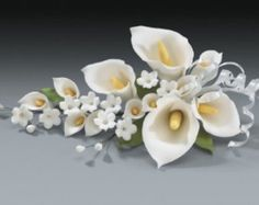 3 Calla Lily Gum Paste Flower Sprays for Weddings and Cake Decorating - Ships Insured!