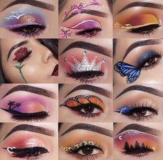 "History of eye makeup ""Eye care"", put simply, ""eye make-up"" has always been an Glitter Makeup Looks, Makeup Eye Looks, Dramatic Eye Makeup, Eye Makeup Art, Colorful Eye Makeup, Crazy Makeup, Cute Makeup, Smokey Eye Makeup, Purple Makeup"