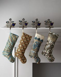 Glamorous #holidays stocking from Kim Seybert for @Horchow include sequined peacock designs! Love it! #Christmas #decor