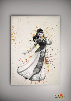 Zelda Princess Nintendo Legend of Zelda Modern Link Watercolor Painting Art Print Poster Giclee Wall Decor Art Home Decor Wall No 166 | Everything Zelda ... & Zelda Princess Nintendo Legend of Zelda Modern Link Watercolor ...