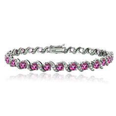 Glitzy Rocks Sterling Silver Pink Tourmaline Diamond Accent S Bracelet
