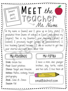 "It's Back to School time! Please enjoy this free ""Meet the Teacher"" page tha It's Back to School time! Please enjoy this free ""Meet the Teacher"" page tha… – Kindergarten Lesson Plans Back To School Night, 1st Day Of School, Beginning Of The School Year, Back To School Teacher, Carta Para O Professor, Letter To Teacher, Teacher Introduction Letter, Parent Letters, Meet The Teacher Template"
