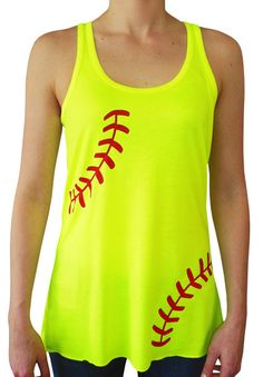 Softball Laces Flowy Women's Tank Top. Soft, lightweight fabric and a softball laces design make this top perfect for warm weather. Softball girls of all positions will adore this stylish neon yellow shirt.