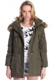 Hooded Fake Leather Pocketed Green Down Coat, romwe, $57.99