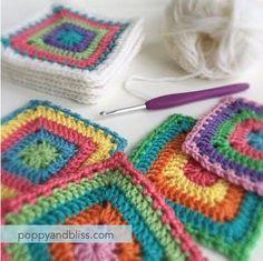 crochet motifs | poppyandbliss Crochet Blocks, Granny Square Crochet Pattern, Crochet Squares, Crochet Granny, Crochet Blanket Patterns, Crochet Motif, Crochet Yarn, Crochet Stitches, Knitting Patterns