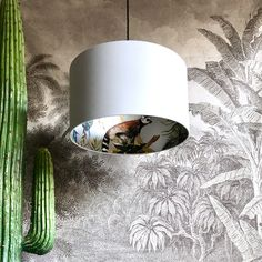 Silver Lemur Wallpaper Silhouette Lampshade in Cloud Grey Cotton - - Of Wallpaper, Designer Wallpaper, Silver Wallpaper, Wallpaper Ideas, Pendant Light Fitting, Free Fabric Swatches, Fabric Lampshade, Animal Magic, Ceiling Rose