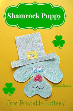 This Shamrock Puppy St. Patrick's Day Craft Activity includes a free printable pattern to make a cute St. Patrick's Day puppy starting with a shamrock shape.