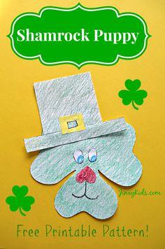 Shamrock Puppy St. Patrick's Day Craft Activity - Jinxy Kids