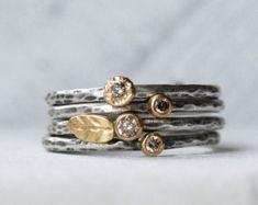 Set de anillo de diamante azul hoja 18k pila de por LilianGinebra