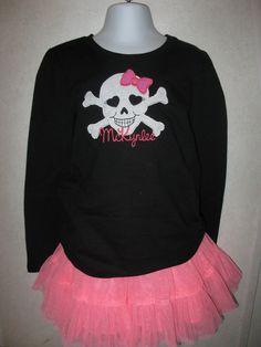 Girly Skull Halloween Onesie Shirt Tank any size by rowanmayfairs, $26.00