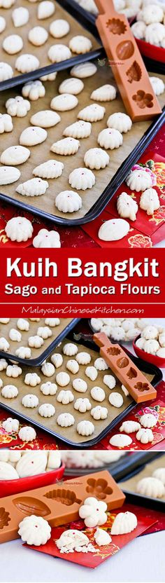 These petite Kuih Bangkit Sago and Tapioca Flours have a lighter texture while still holding its shape. Also nice crunch and great flavor. | MalaysianChineseKitchen.com