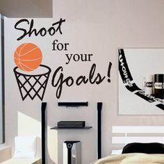 """Self-adhesive Vinyl Wall Lettering Overall size is 18.5""""w x 15.5""""h Shoot for your Goals / Basketball will be ORANGE CHOOSE YOUR COLOR FROM DROP DOWN MENU *For Color reference please see second picture"""