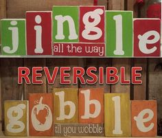 """reversible holiday deor   Thanksgiving/Christmas Reversible holiday blocks. 3.5""""wX1.5""""d X 5,6 ..."""