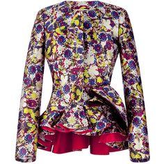 Antonio Berardi Electric Blue Duchesse Ruffle Hem Jacket ($4,435) ❤ liked on Polyvore featuring outerwear, jackets, electric blue, antonio berardi, peplum jacket, collarless jacket and royal blue jacket